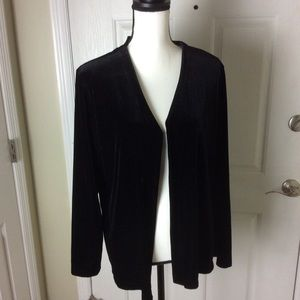 Black velvet open jacket